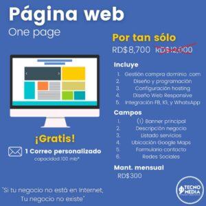 Oferta Pagina web One Page